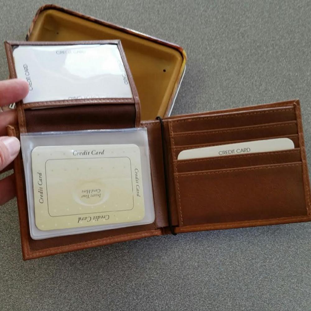 Deer Pair Leather Bifold Brown Wallet -3