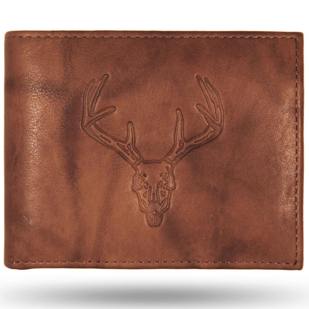 Deer Skull Leather Bifold Tan Wallet
