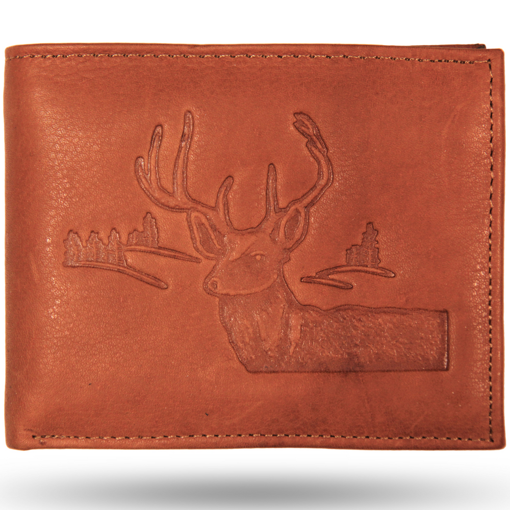 Deer Head Scene Leather Bifold Wallet