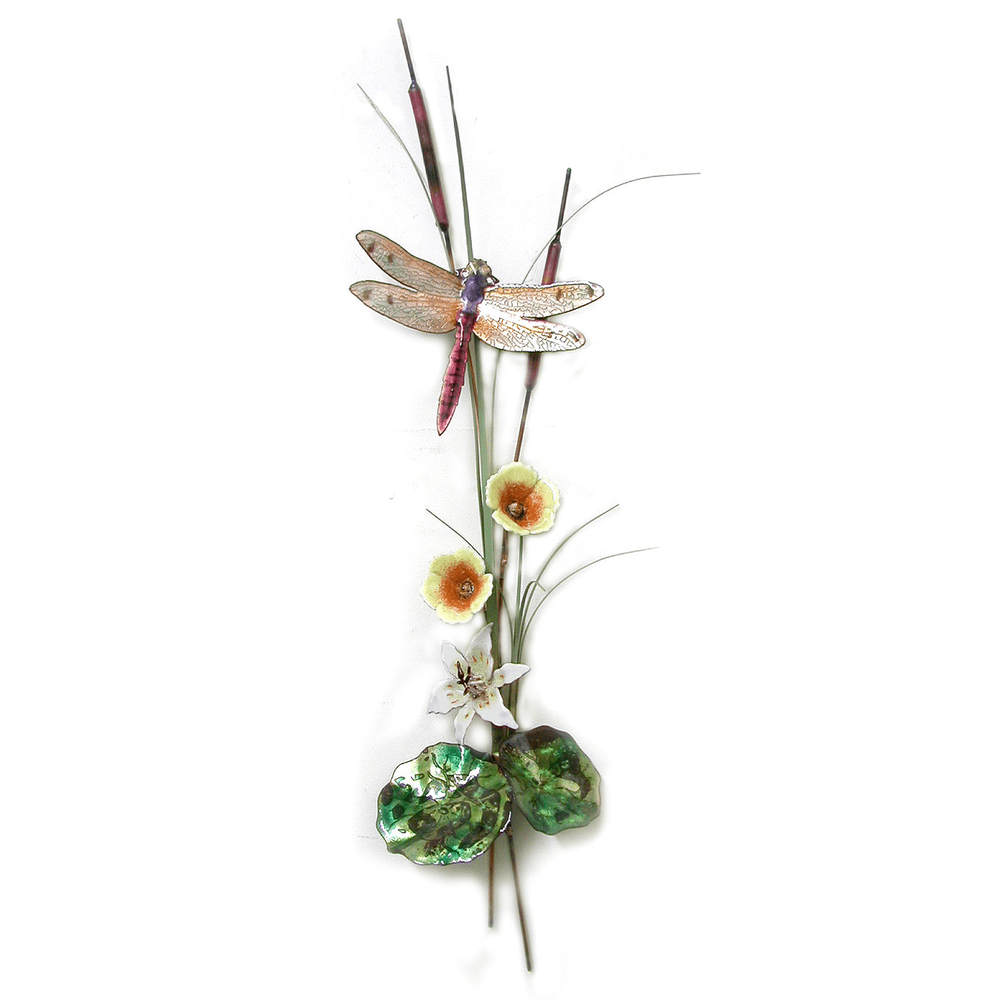 Bovano Peach  Dragonfly with Lily and Mallow Enameled Copper Wall Art   W7628