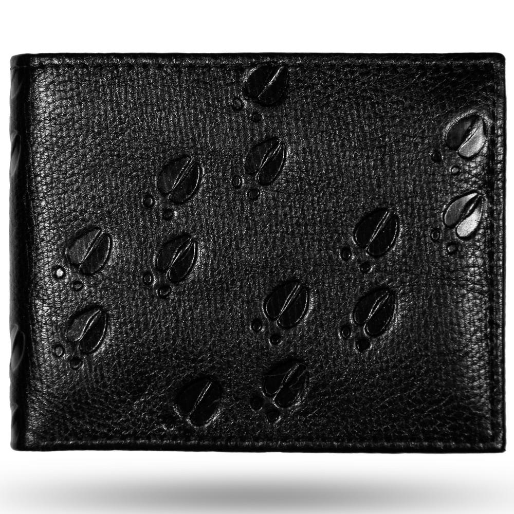 Deer Tracks All Leather Black Bifold Wallet