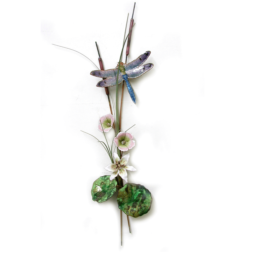 Bovano Blue  Dragonfly with Lily and Mallow Enameled Copper Wall Art | W7627