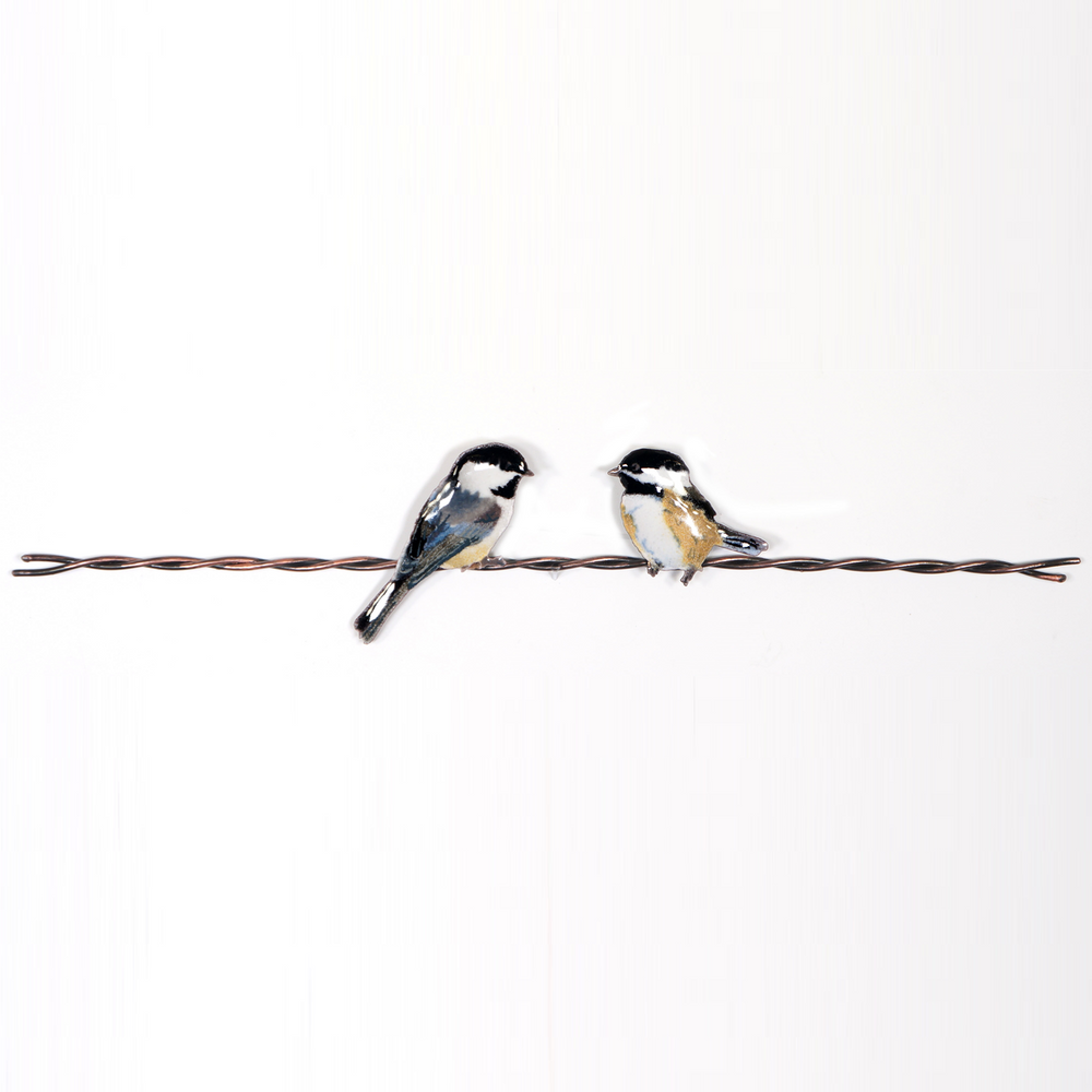 Bovano Chickadee Pair on Wire Enameled Copper Wall Art | W4444