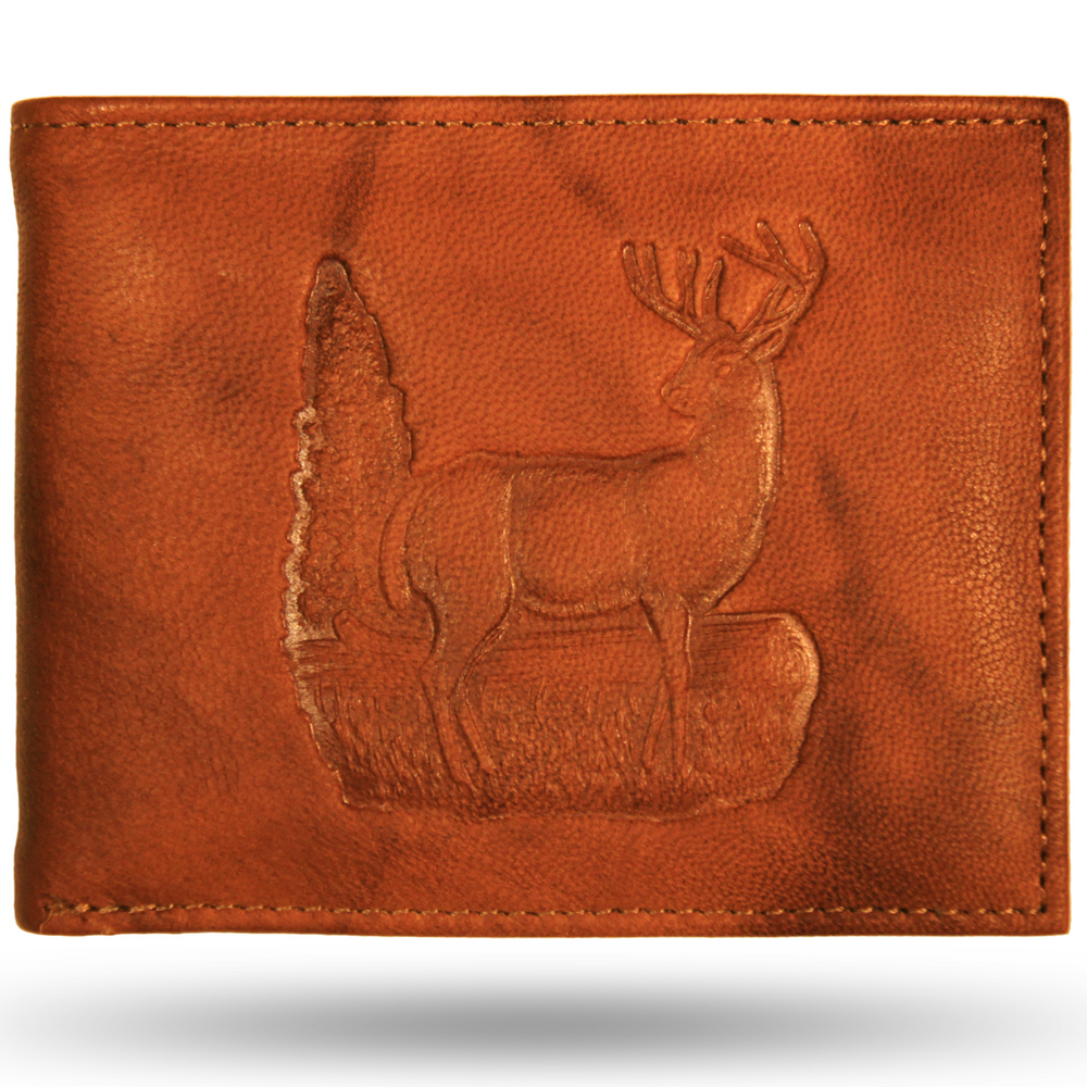 Deer Scene Leather Bifold Wallet