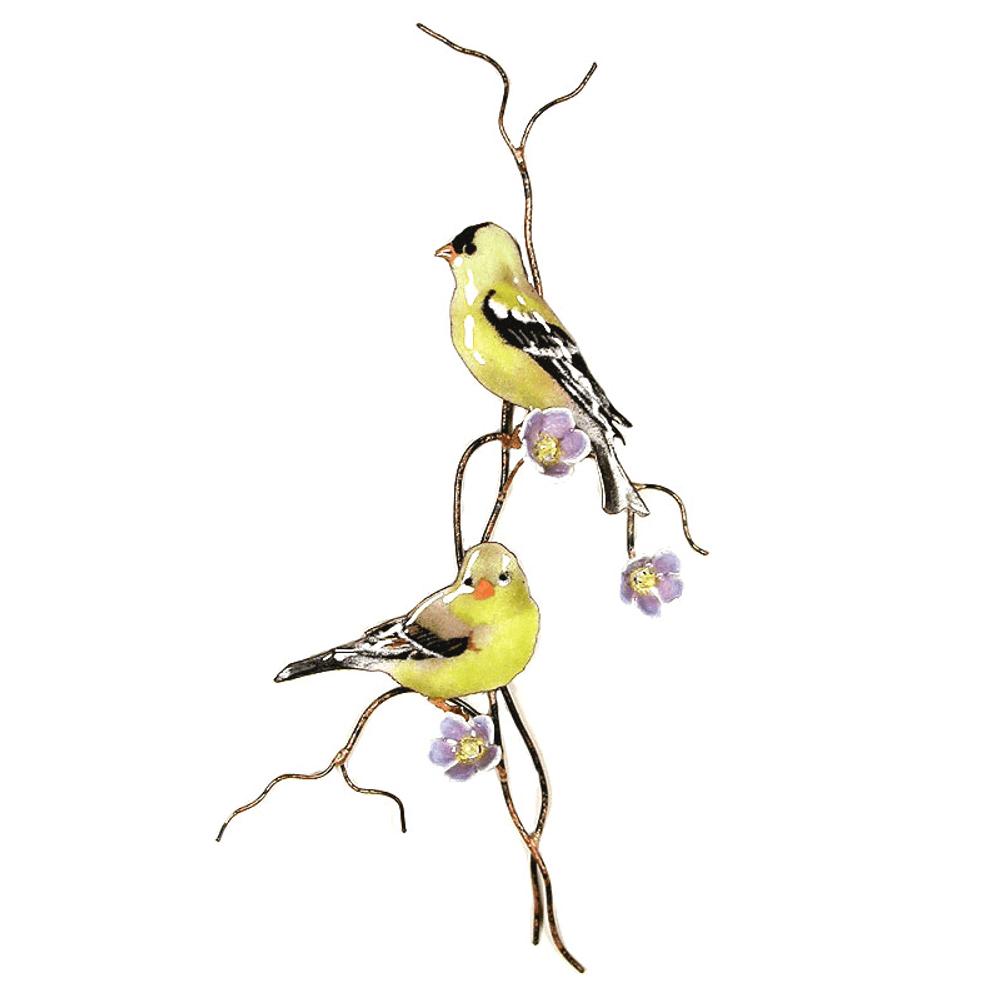 Bovano Two Goldfinch on Purple Flower Branch Wall Art   W4433