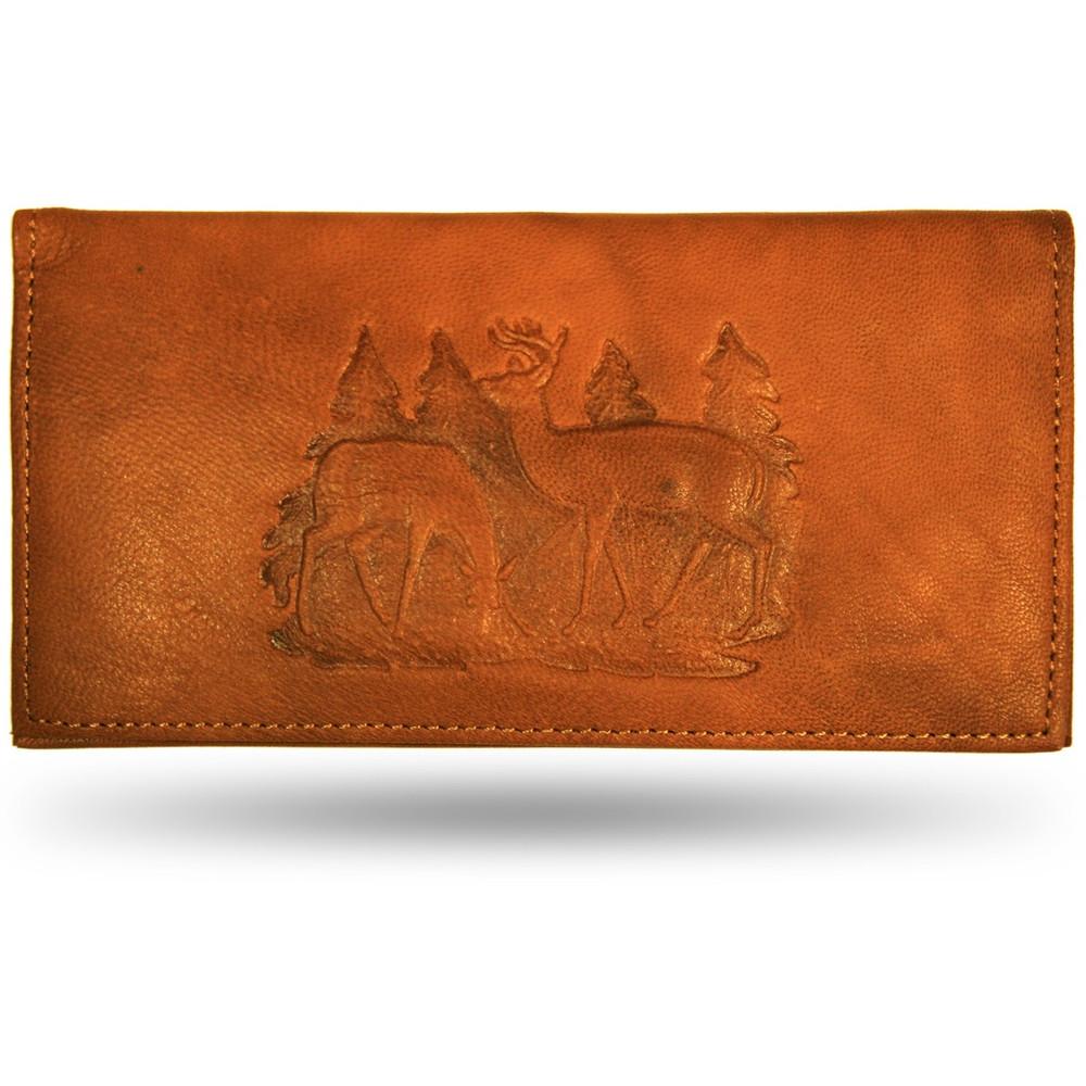 Deer Pair Scene Leather Checkbook Cover
