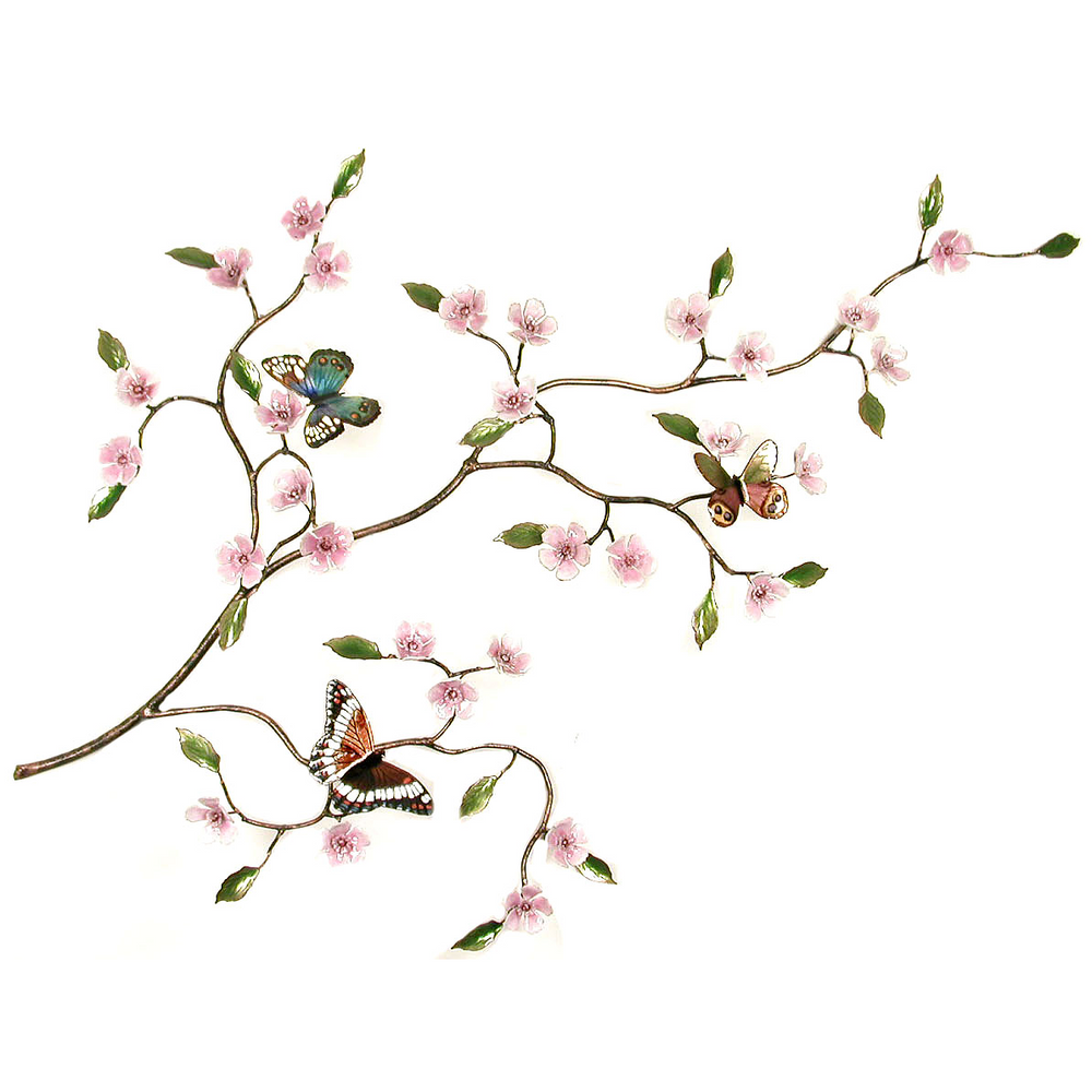 Bovano Cherry Blossom Branch with Butterflies Enameled Copper Wall Art | B901