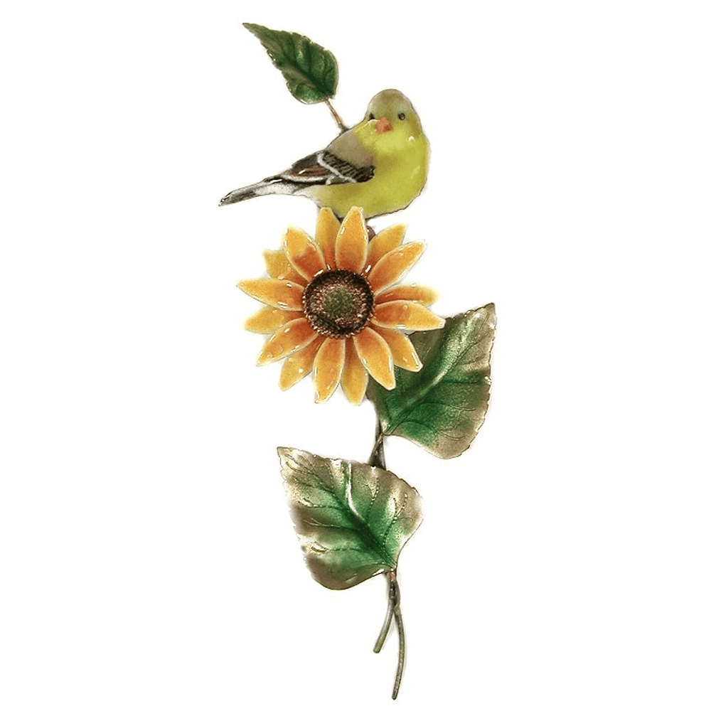 Bovano Female Goldfinch on Sunflower Enameled Copper  Wall Art | W4167