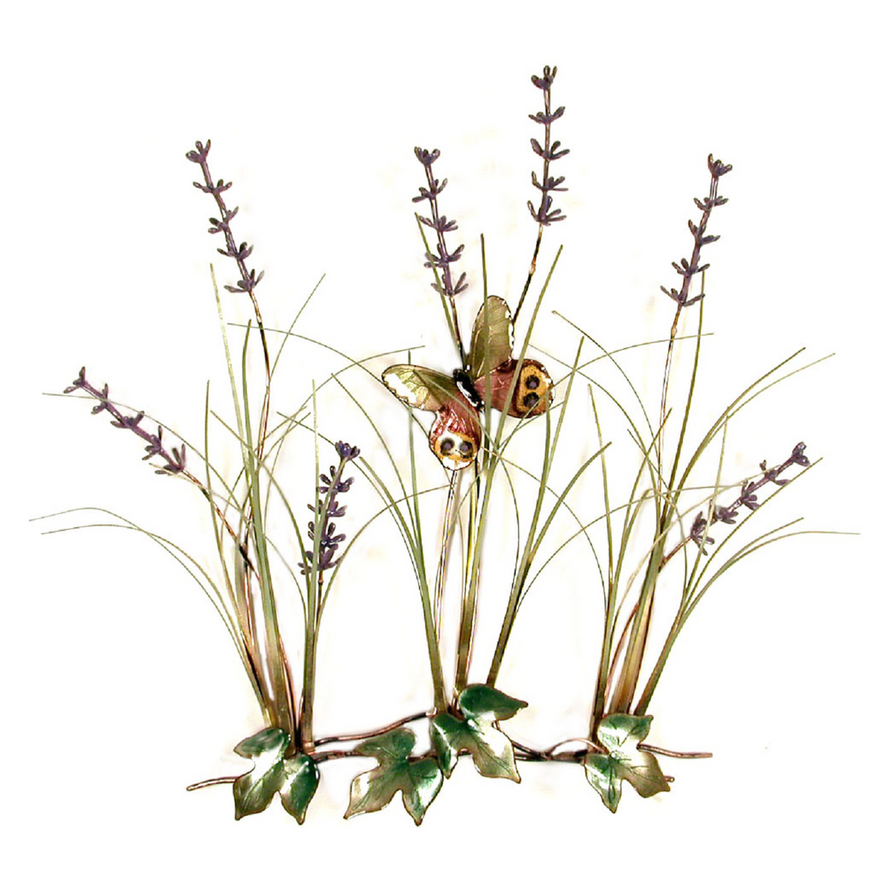 Bovano Field of Lavender with Butterfly Enameled Copper Wall Art | F111