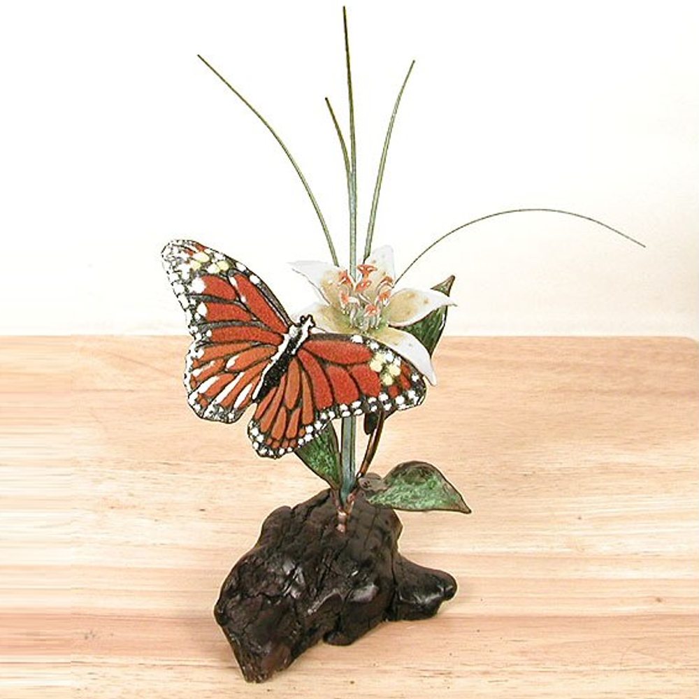 Bovano Monarch Butterfly and Daylily on Manzanita Tabletop Sculpture | FM37