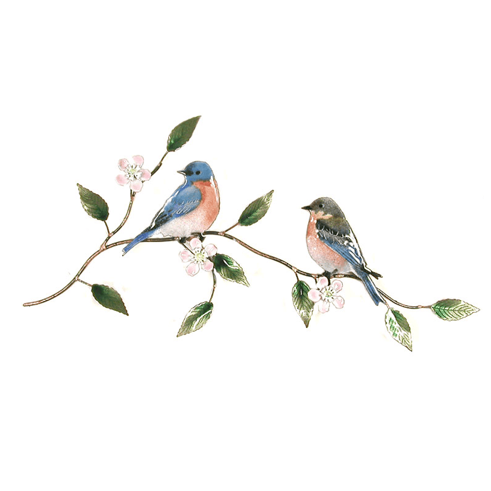 Bovano Bluebird Pair on Apple Blossom Enameled Copper Wall Art | W4134