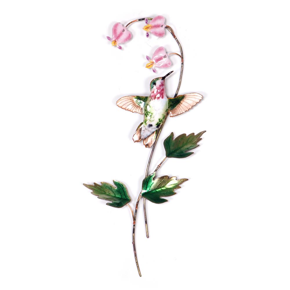 Bovano Calliope Hummingbird with Bleeding Heart Flower Wall Art   H3