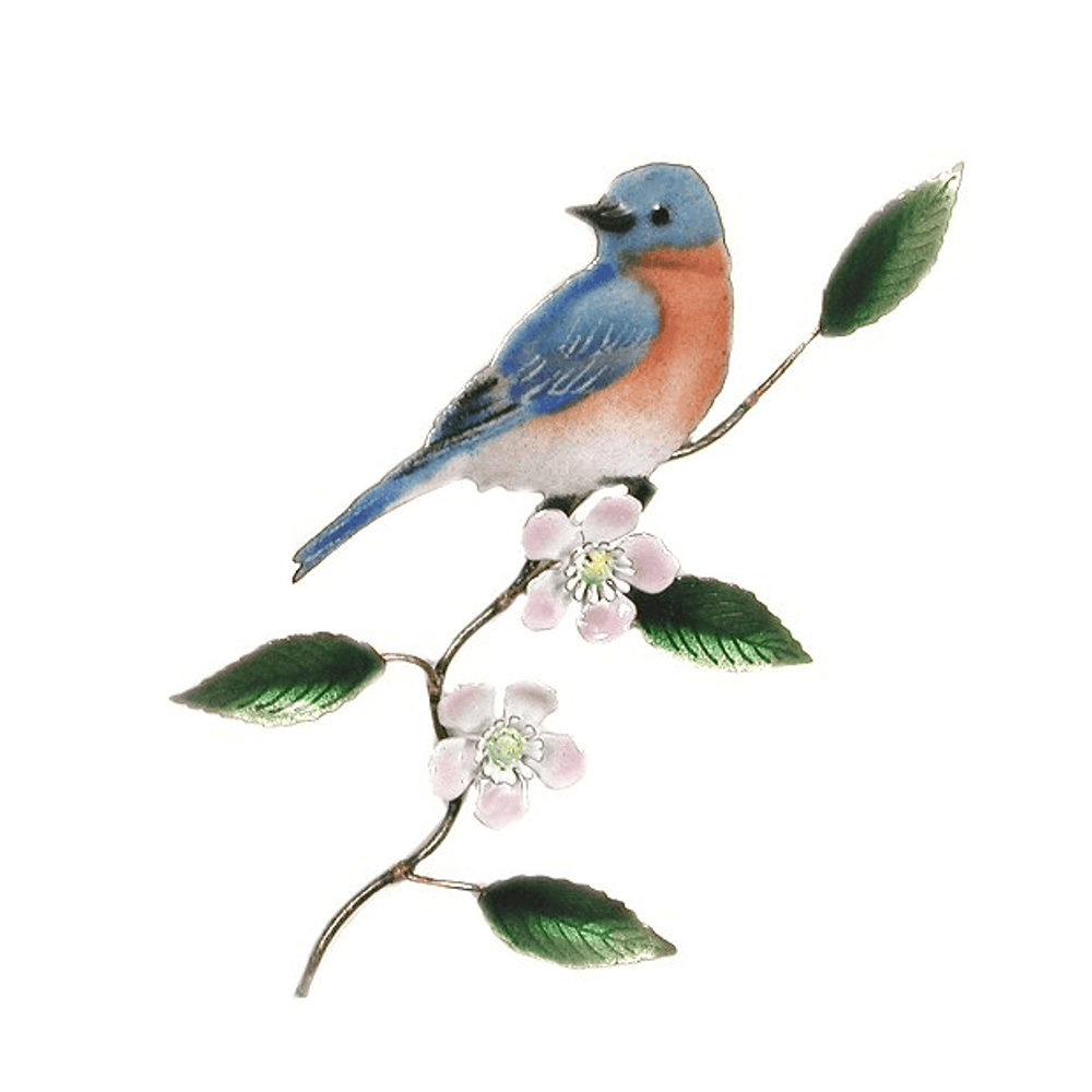 Bovano Eastern Bluebird on Apple Blossom Enameled Copper Wall Art | W4108
