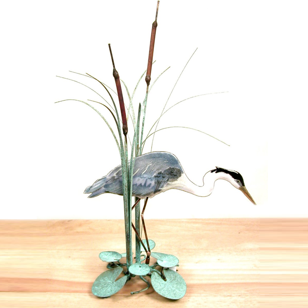 Bovano Blue Heron facing Right in Cattails Tabletop Sculpture | T17R