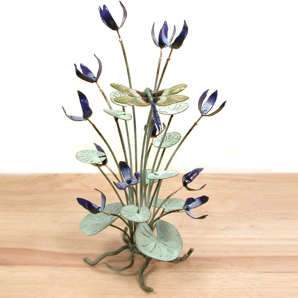 Bovano Blue Flowers with Dragonfly Lilypad Copper Tabletop Sculpture   T19