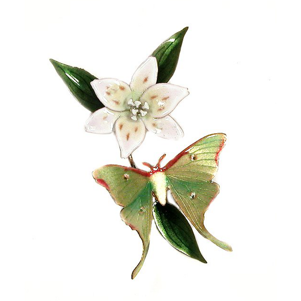 Bovano Luna Moth with White Lily Enameled Copper Wall Art   W68