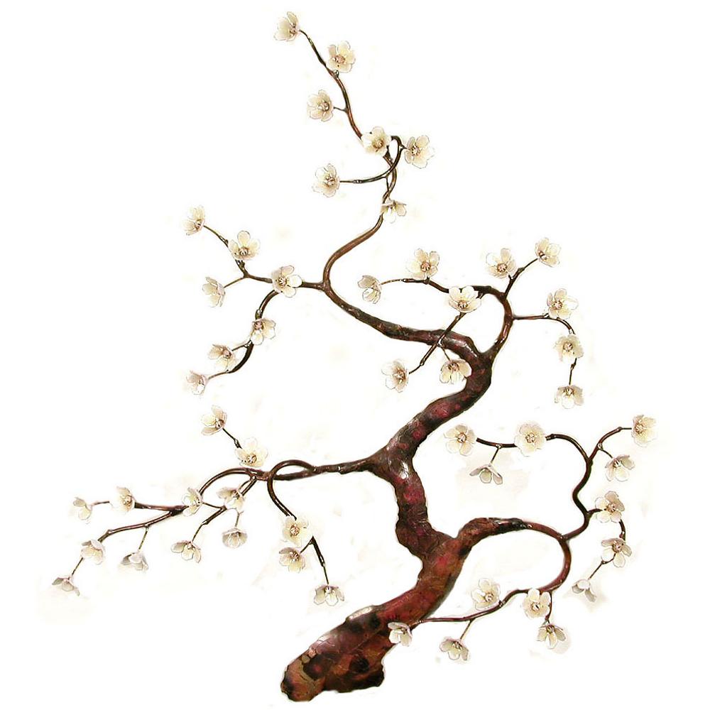 Bovano Flowering Tree White Enameled Copper Wall Art | W91white