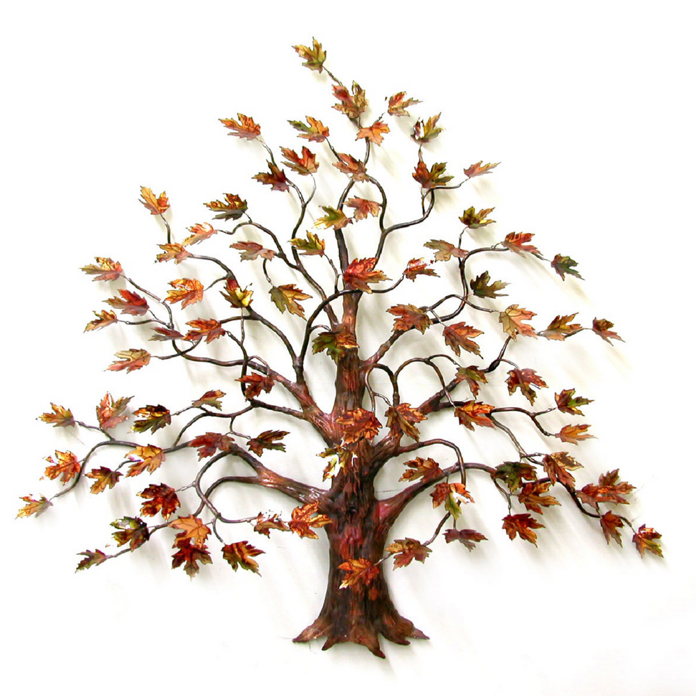 Bovano Large Maple Tree Autumn Leaves Enameled Copper Wall Art | W95