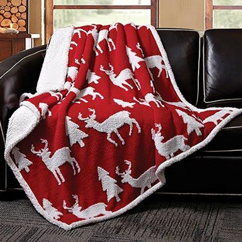 Deer Jacquard Fleece Sherpa Throw Blanket | DTR3007