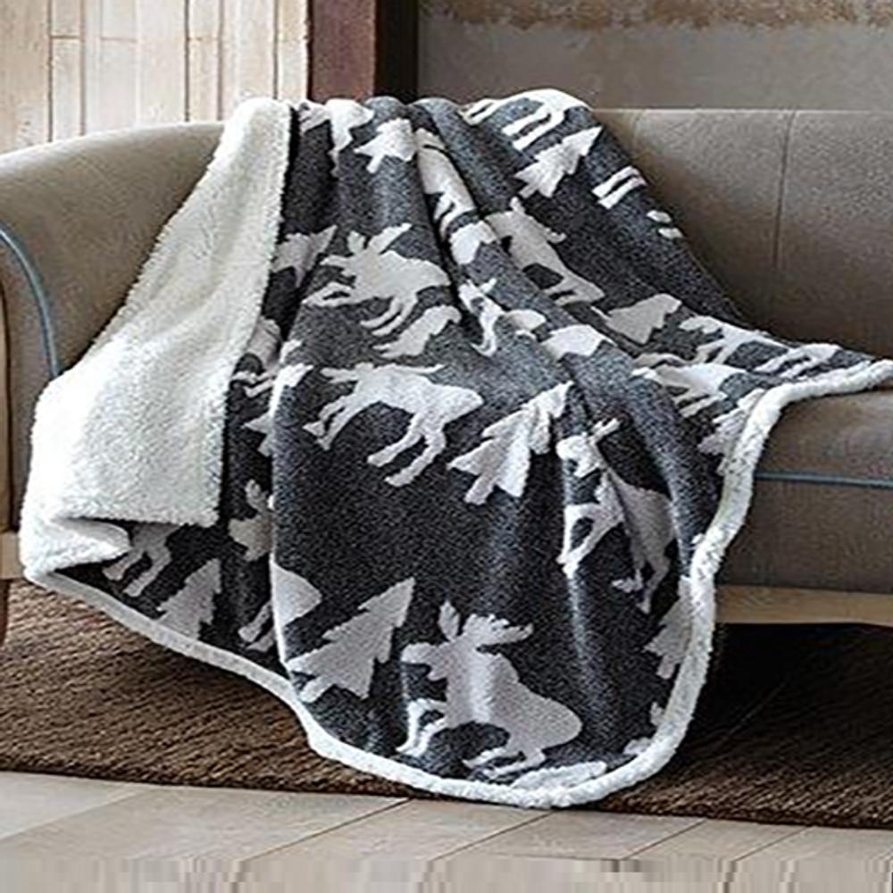 Deer Jacquard Fleece Sherpa Throw Blanket | DTR3003