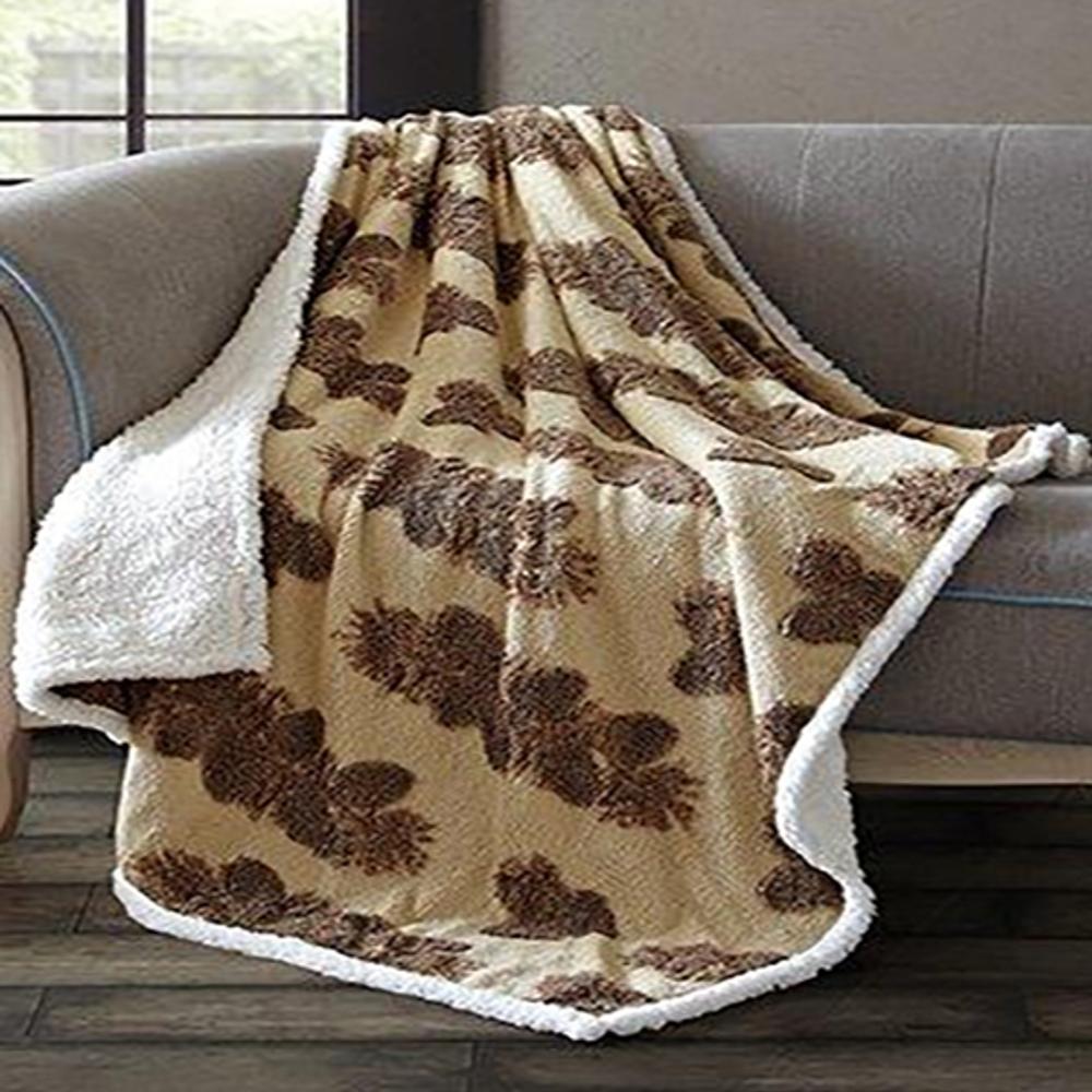 Pine Cone Jacquard Fleece Sherpa Throw Blanket   DTR3001