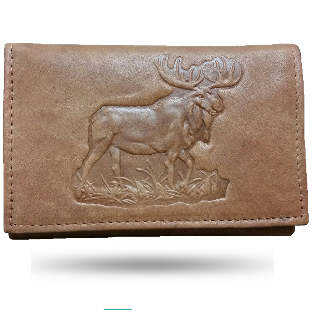 Moose Men's Leather Trifold Tan Wallet