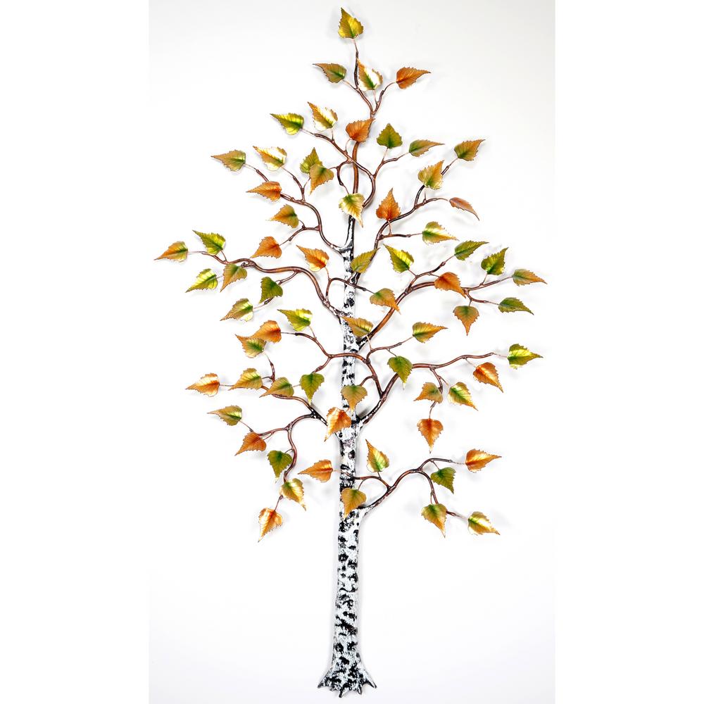Bovano Birch Tree Enameled Copper Leaves Wall Art   W101