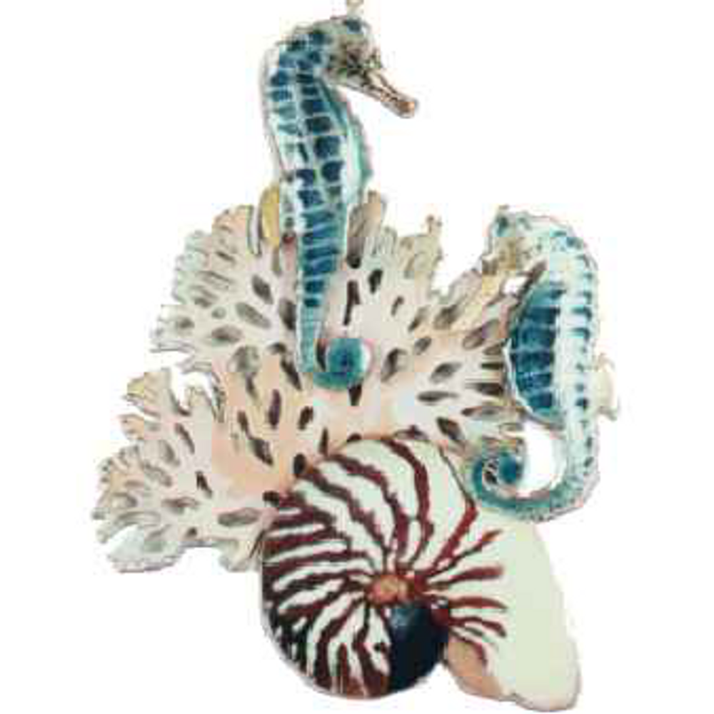 Bovano Sea Horses with Coral and Shell Enameled Copper Wall Art | W182