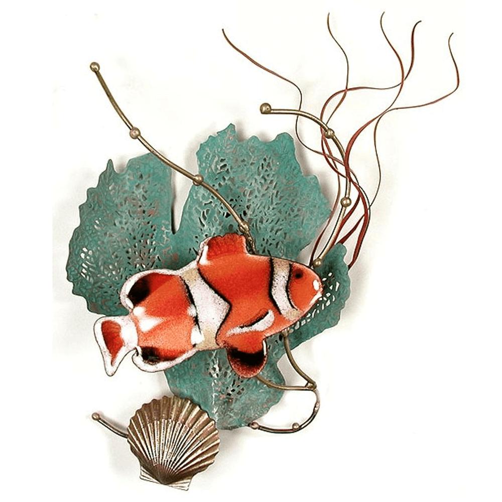 Bovano Anemonefish with Sea Fan Enameled Copper Wall Art | W1949