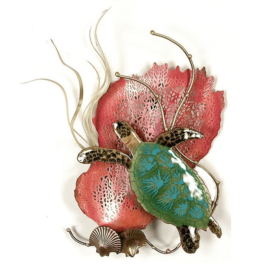 Bovano Mini Sea Turtle and Sea Fan Enameled Copper Wall Art | W1947