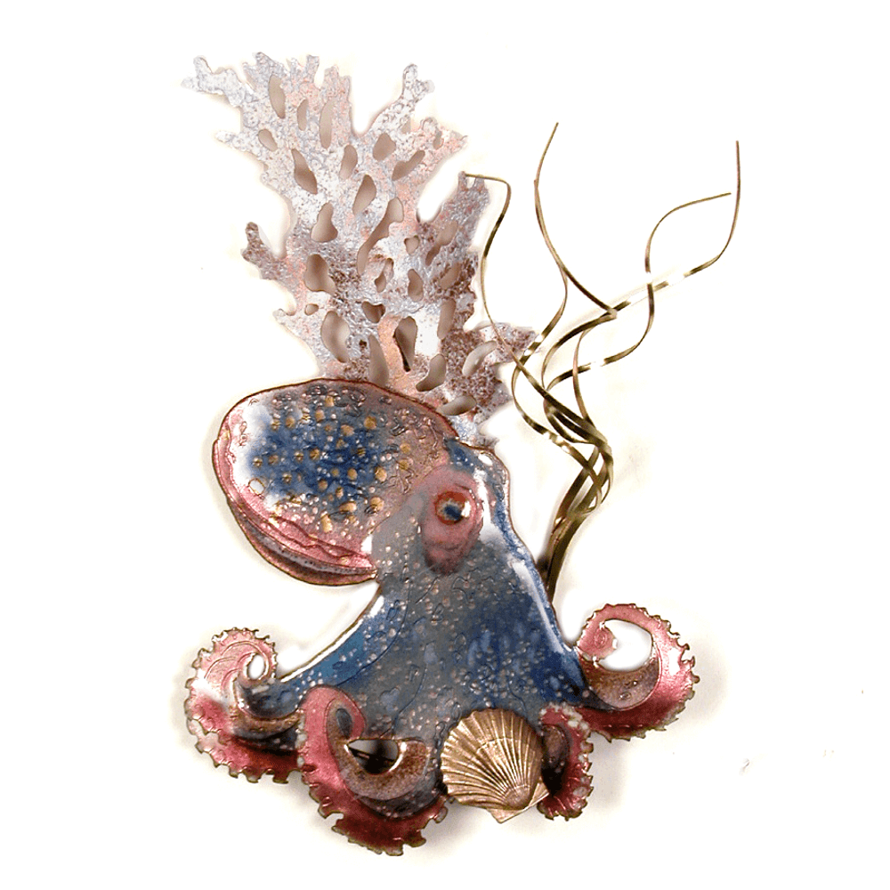 Bovano Octopus with Shell Enameled Copper Wall Art | W1673