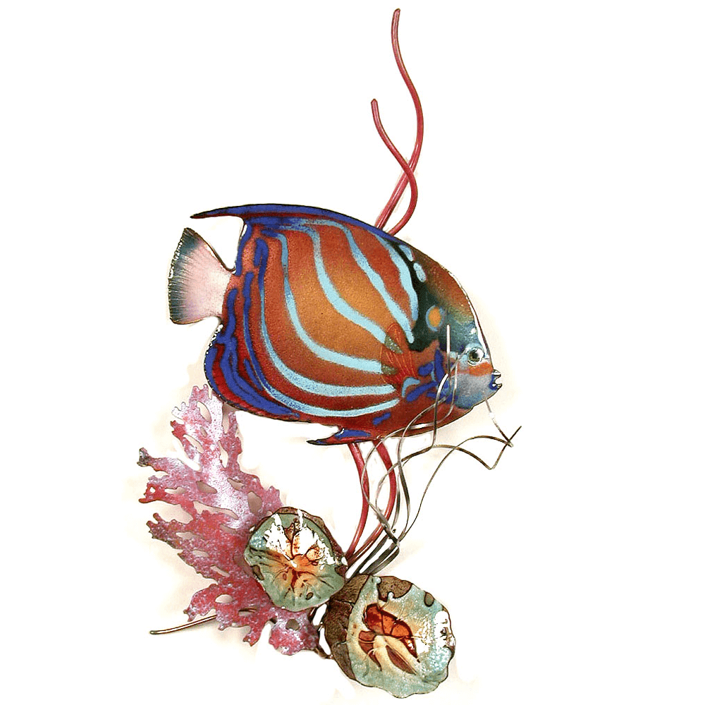 Bovano Blue Ring Angelfish in Coral Enameled Copper Wall Art | W1665