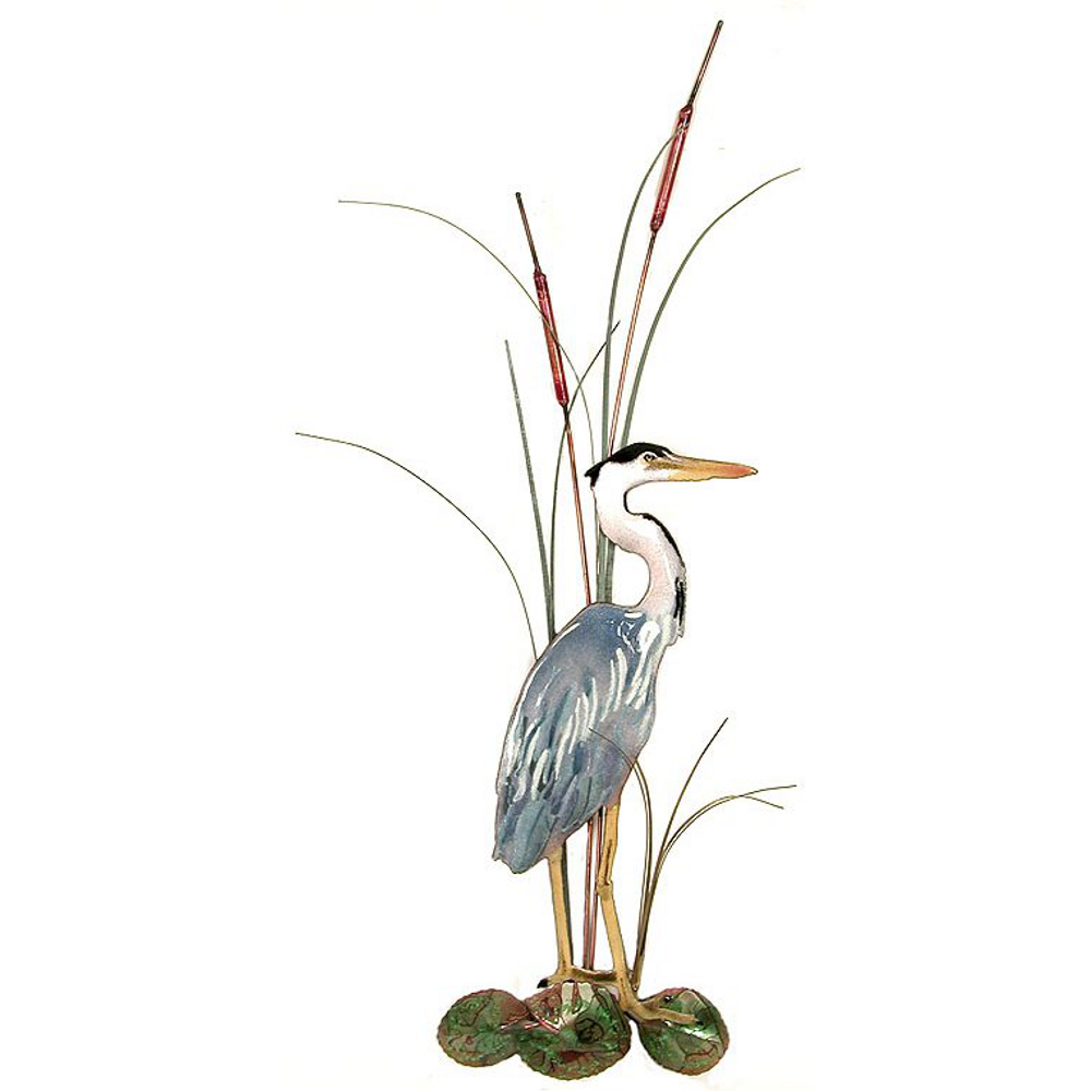 Bovano Small Great Blue Heron with Cattails Facing Right Wall Art   W363R
