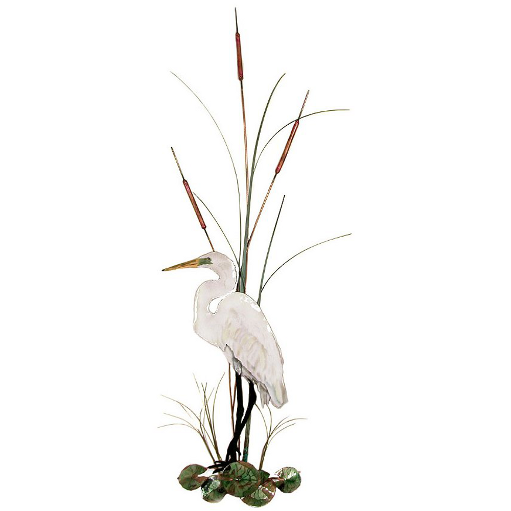 Bovano Large White Egret with Cattails Enameled Copper Wall Art | W364