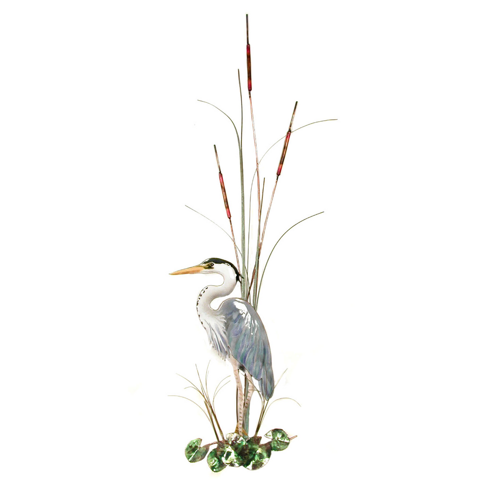 Bovano Large Great Blue Heron with Cattails Facing Left Wall Art   W365L