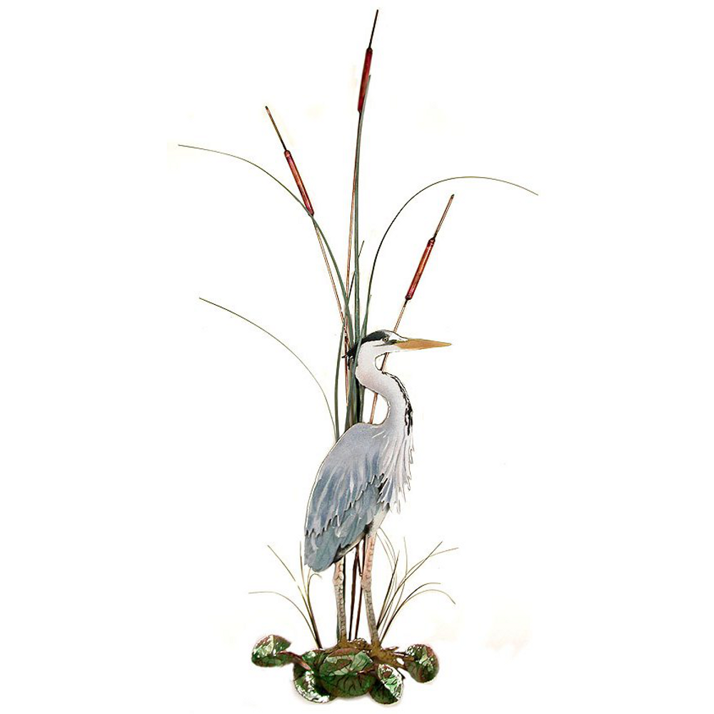 Bovano Large Great Blue Heron with Cattails Facing Right Wall Art | W365R
