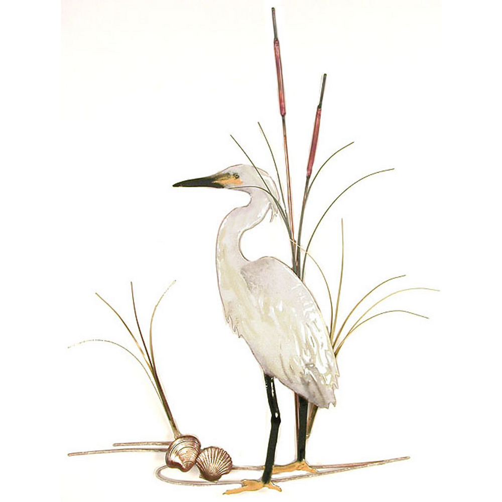 Bovano Snowy Egret with Shells Enameled Copper Wall Art | W368