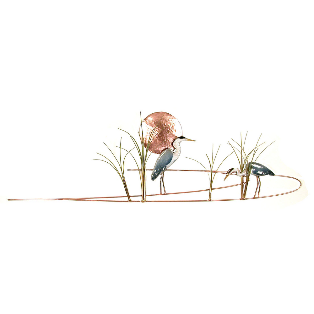 Bovano Great Blue Herons with Grasses Enameled Copper Wall Art | W369