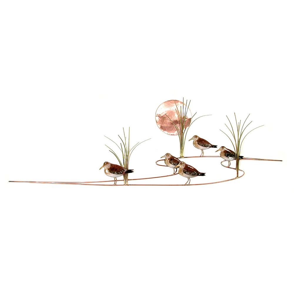 Bovano Sandpipers with Grasses Enameled Copper Wall Art | W371