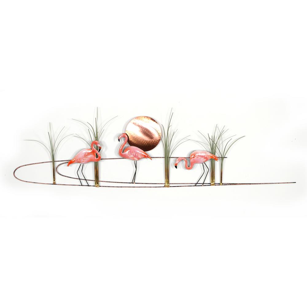 Bovano Flamingos with Copper Sun Enameled Wall Art | W385