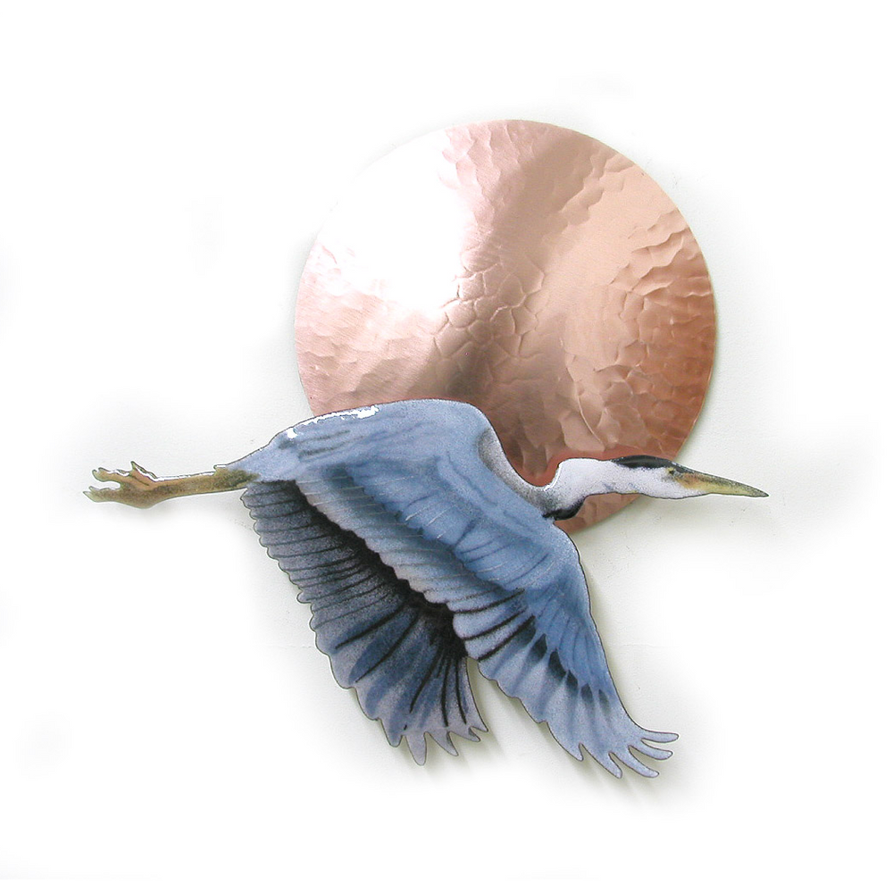 Bovano Small Flying Heron with Large Copper Sun Enameled Wall Art | W407