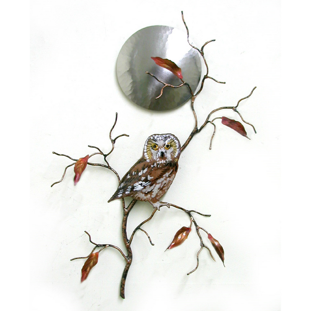 Bovano Saw Whet Owl with Stainless Steel Moon Copper Wall Art | W408