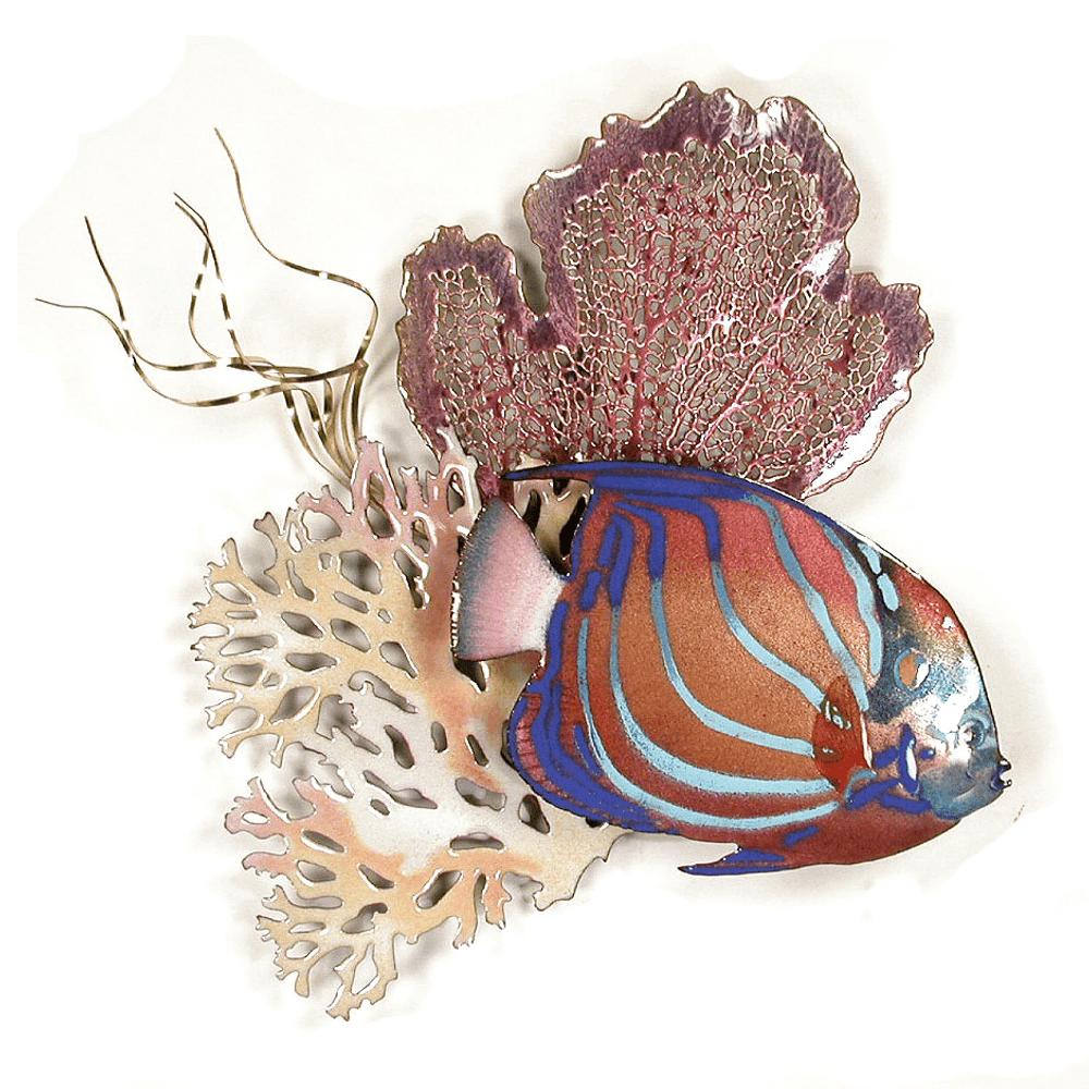 Bovano Blue Ring Angelfish & Sea Fans Enameled Copper Wall Art   W1646