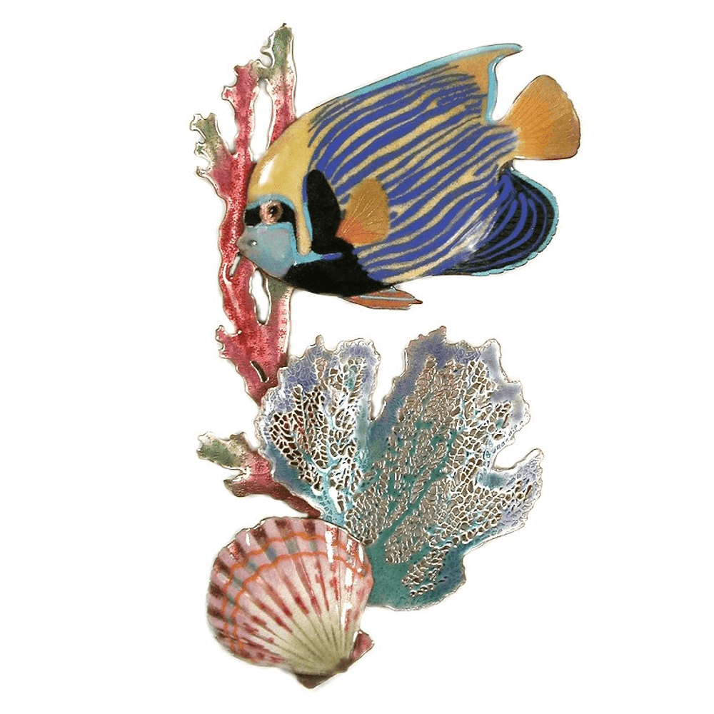 Bovano Emperor Angelfish, Surgeonfish, Branching Coral, Scallop Wall Art | W1612