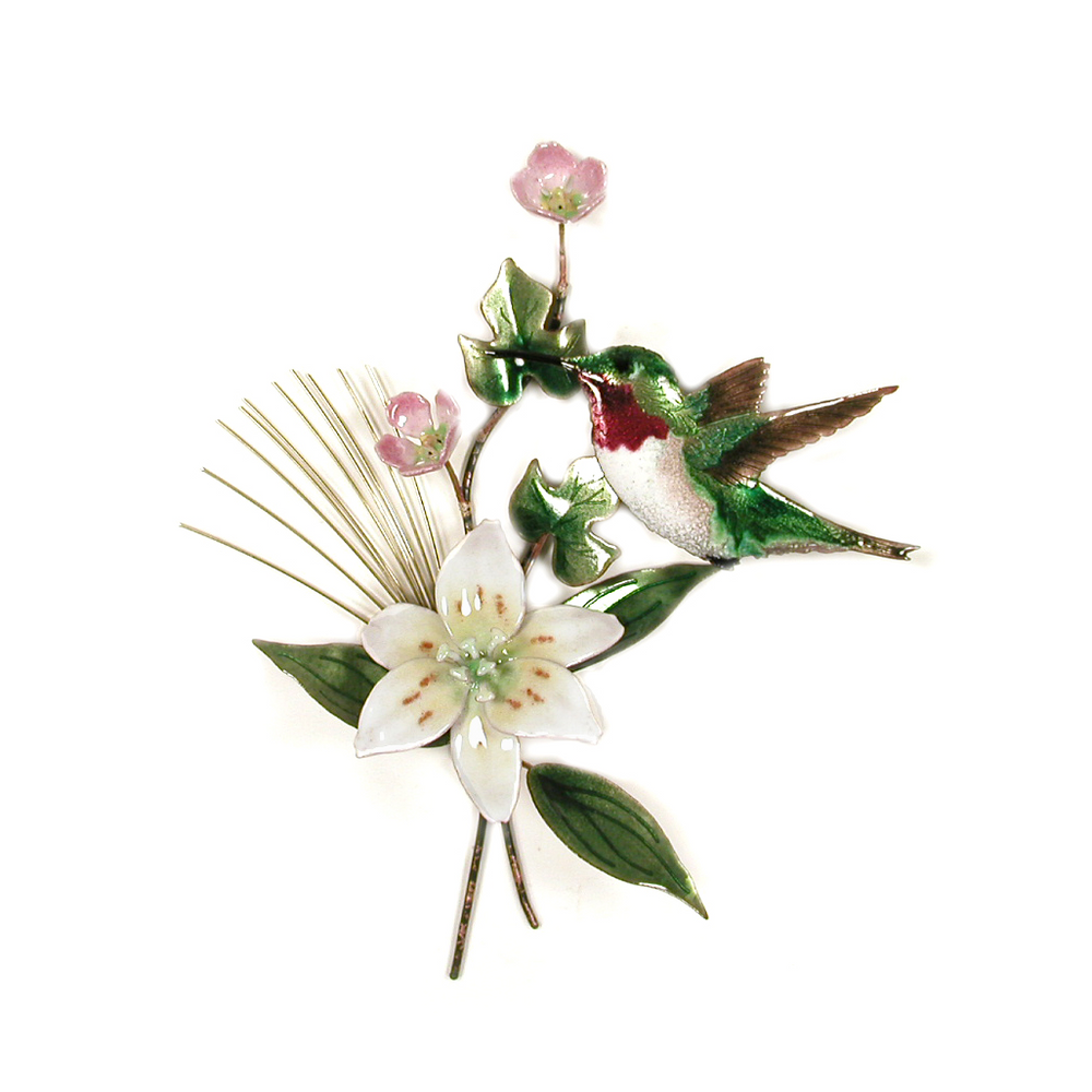 Bovano Hummingbird with Wood Lily Enameled Copper Wall Art | W441