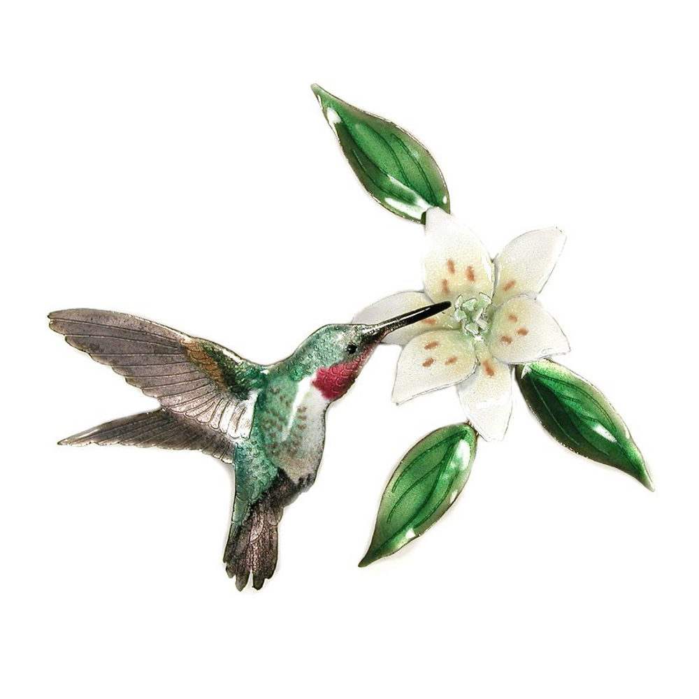 Bovano Broad-Tailed Hummingbird with Wood Lily Flower Wall Art | W443