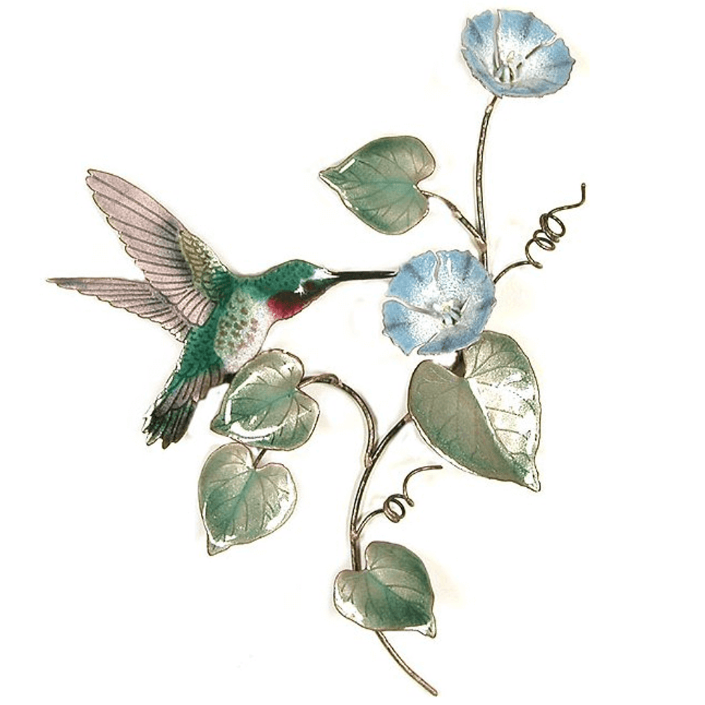 Bovano Hummingbird on Morning Glory Vine - Small Wall Art | W1402