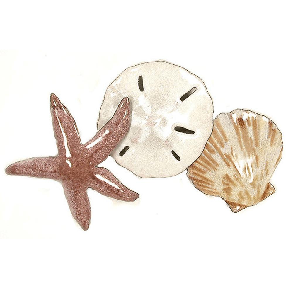 Bovano Starfish, Seashell, Sand dollar in Beach Colors  Enameled Copper Wall Art   W1016