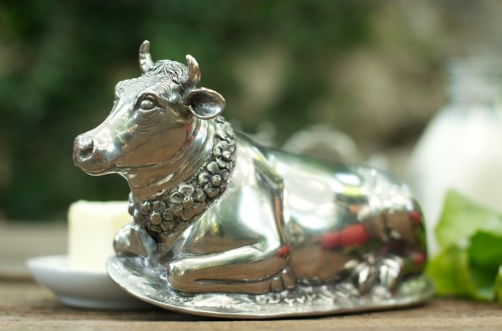 Pewter Cow Butter Dish | Vagabond House | G108C -2