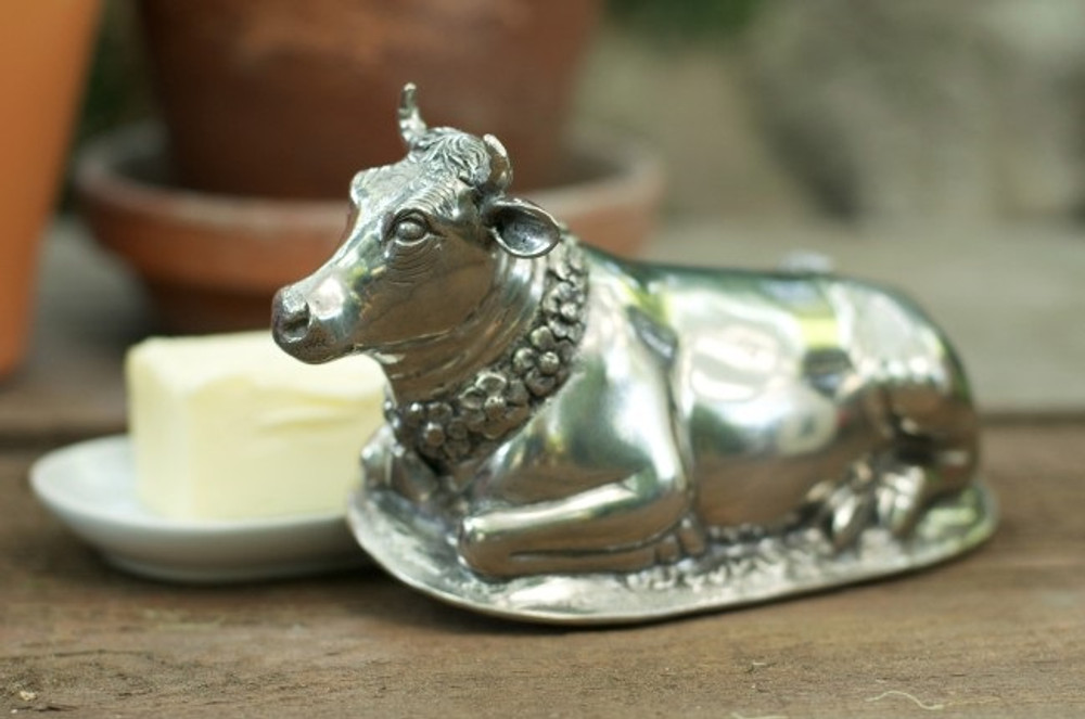 Pewter Cow Butter Dish | Vagabond House | G108C -3
